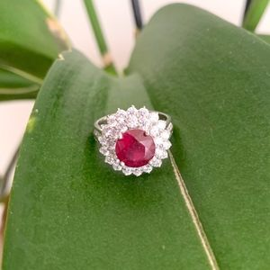 925 STERLING SILVER & NATURAL RUBY GEMSTONE RING